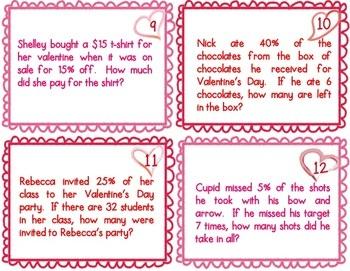 Valentine's Day Percent Math Word Problem Task Cards