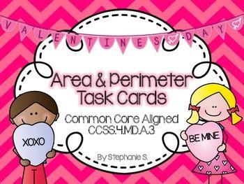 Valentine's Day Perimeter & Area Task Cards