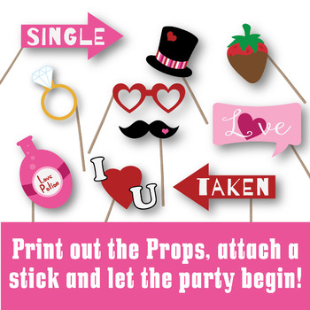 photograph regarding Valentine's Day Printable Decorations called Valentines Working day Image Booth Props and Decorations - Printable
