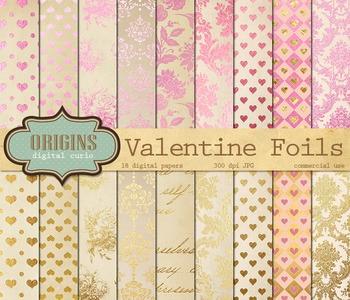 Valentines Day Pink and gold foil digital paper backgrounds hearts damask rose