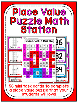 Valentine's Day Math Center Place Value 100 Chart Puzzle