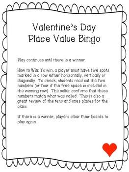 Valentine's Day Place Value Bingo