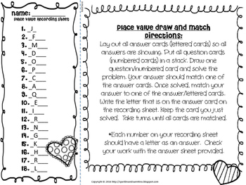 Valentine's Day Mini Task Cards: Place Value Game