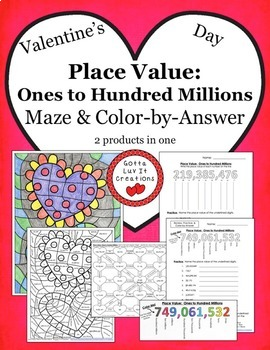 Valentine's Day Math Place Value Maze & Color by Number Activity Set