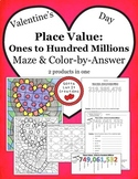 Valentine's Day Math Place Value Maze & Color by Number Ac
