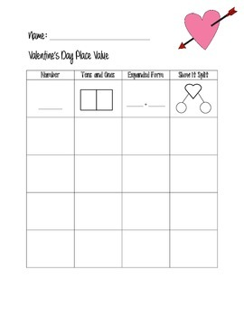 Valentine's Day Place Value worksheet