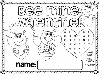 Free Valentine's Day Activity Mats