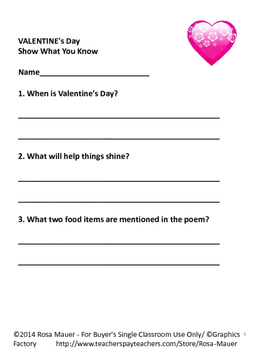 Valentine's Day Poem and Literacy Packet