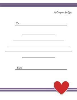Valentine's Day Poetry - Cinquain