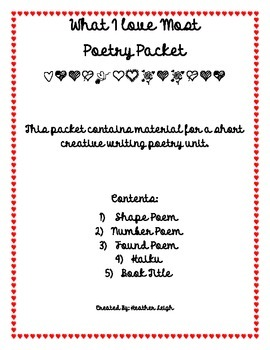 Valentine's Day Poetry Packet