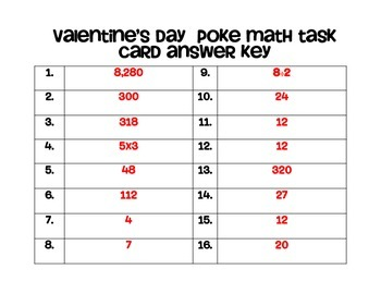 Valentine's Day Poke Math Task Cards