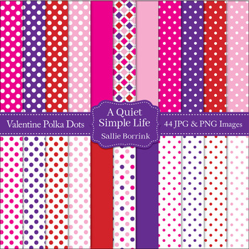 Valentine's Day Polka Dots Digital Papers