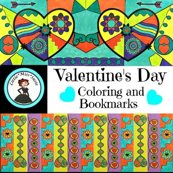 Valentine's Day Pop Art Coloring and Bookmarks