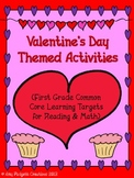 Valentine's Day Practice: First Grade Reading & Math Common Core Practice+