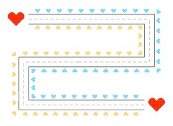Valentine's Day Pre-Writing Mats - primary colors hearts theme