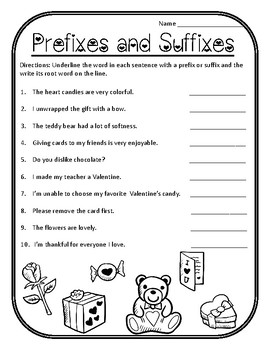 Valentines Day Prefixes Valentines Suffixes Valentines Grammar Worksheets Prefix