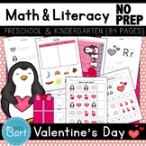 Valentine's Day Math & Literacy Activities- NO PREP {Color & BW set included}