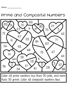 Valentine's Day Prime and Composite Numbers Activity by The Busy Class