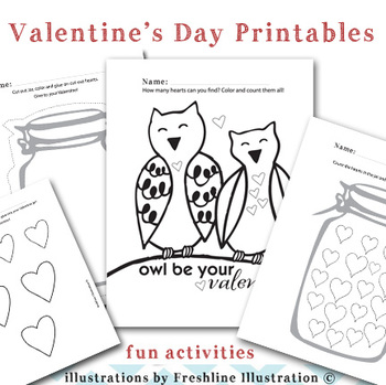 Valentine's Day Printable, Activity Sheets, Coloring Sheet, Numbers, Hearts