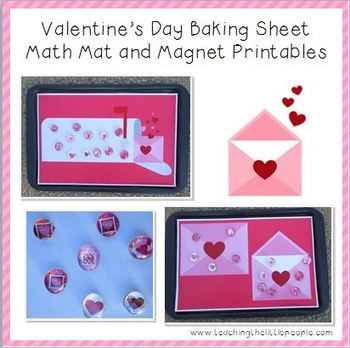 Valentine's Day Printables for Cookie Sheet Math Mats and Glass Marble Magnets