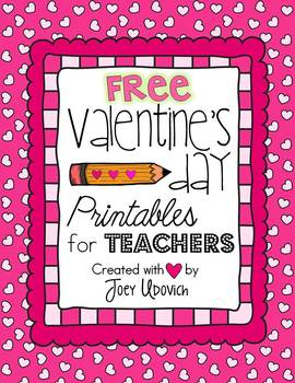photograph relating to Printable Teacher Valentine Cards Free called Valentines Working day Printables for Instructors: FREEBIE!