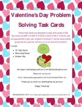 Valentine's Day Problem Solving Task Cards!