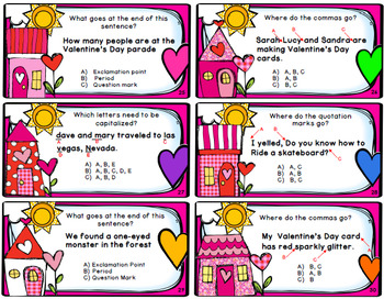 Valentine's Day Punctuation Game - 40 Task Cards / Game Board / Answer Key