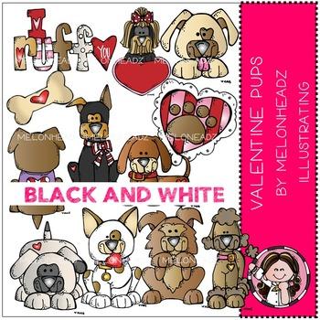 Valentine's Day Pups by Melonheadz BLACK AND WHITE