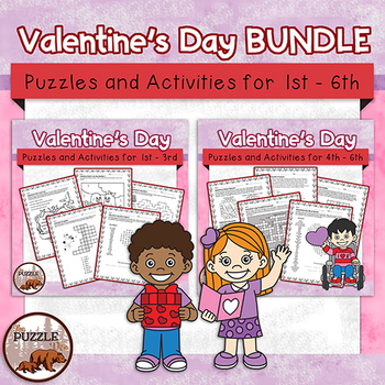 Valentine's Day Puzzle Pack BUNDLE - for grades 1 to 6