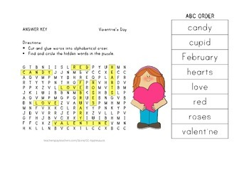Valentine's Day - Vocabulary Word Search with ABC Order