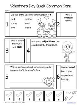 Valentine's Day No Prep Common Core Literacy (1st grade)