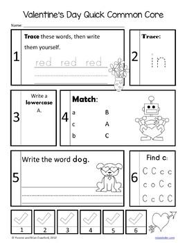 Valentine's Day No Prep Common Core Literacy (kindergarten)