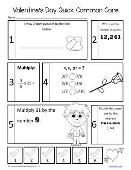 Valentine's Day No Prep Common Core Math (fourth grade)