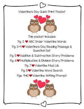 Valentine's Day Quick Print Packet