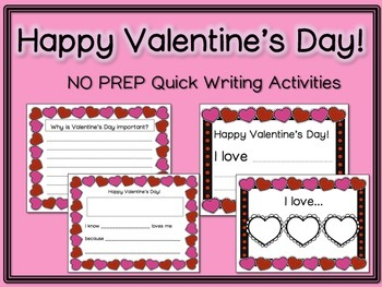 Valentine's Day Quick Writing Activities