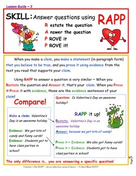 Valentine's Day RAPP~ Answering Questions Using Evidence
