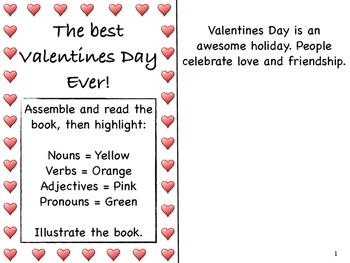 Valentines Day Reader, Grammar label, sort and illustrating for comprehension