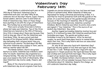 Valentine's Day Reading Closely