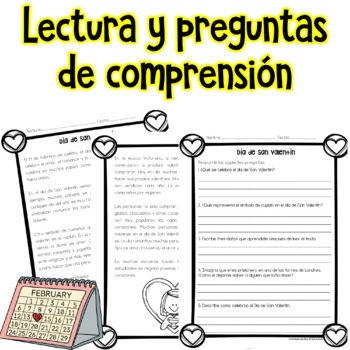 Valentines Day Reading Comprehension in Spanish / Lectura Dia de San Valentin