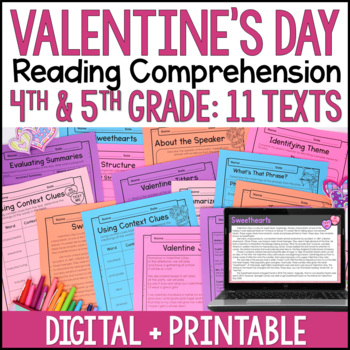 Valentines Day Reading Comprehension Passages and Activities