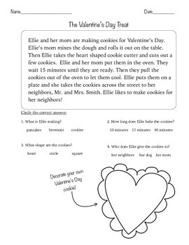 Valentine's Day Reading and questions + worksheet and Valentine's cards
