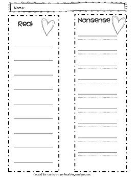 Valentine's Day Real Nonsense Words Packet