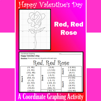 Valentine's Day - Red, Red Rose - A Coordinate Graphing Activity