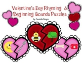 Valentine's Day Rhyming & Beginning Sounds Puzzles