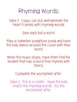 Day Rhyming Words Activity Day 2 of 14 Days of Love