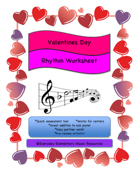February Valentine's Day Rhythm Beat Duration Match for General Music
