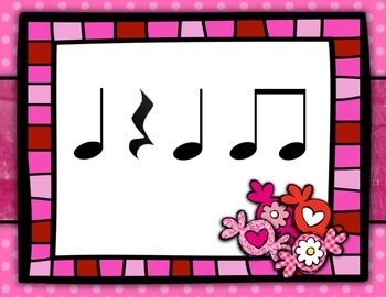 Valentines' Day Rhythm Flashcards: Ta, TiTi, Rest