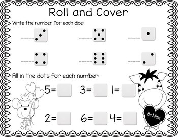Valentine's Day Roll & Cover Number Recognition Games!