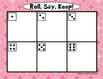 """Valentine's Day: """"Roll, Say, Keep!"""" Pre-Primer Dolch Sight Word Center + Extra"""