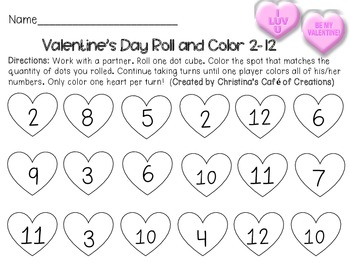 Valentine's Day Roll and Color Center - Sums to 12